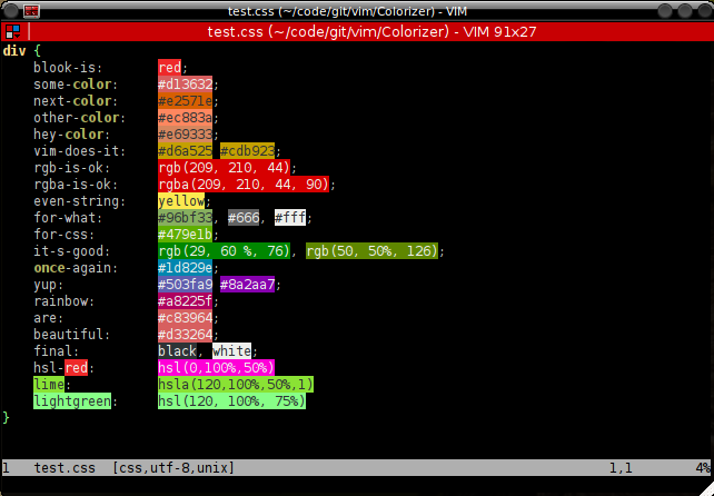 Colorizer - highlight color codes and names : vim online